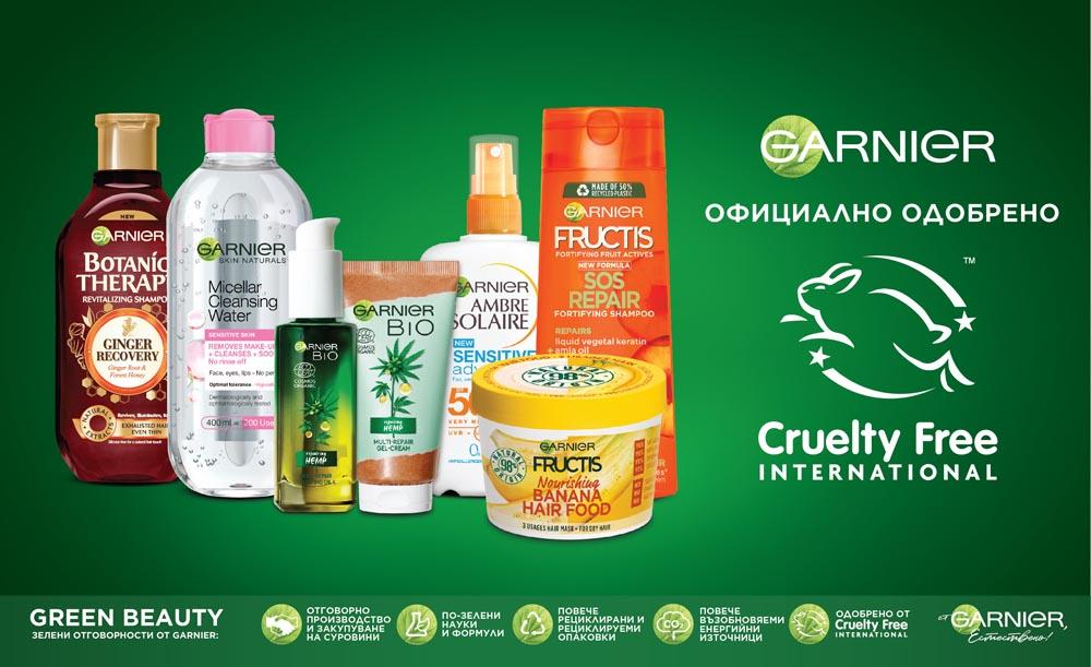 Garnier вече е официално сертифициран от Cruelty Free International 139